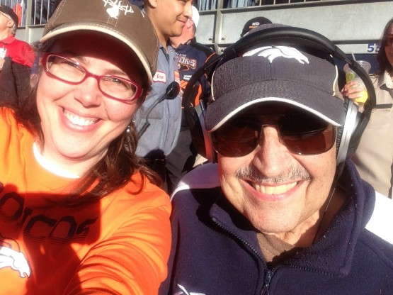 with Dad at Broncos game