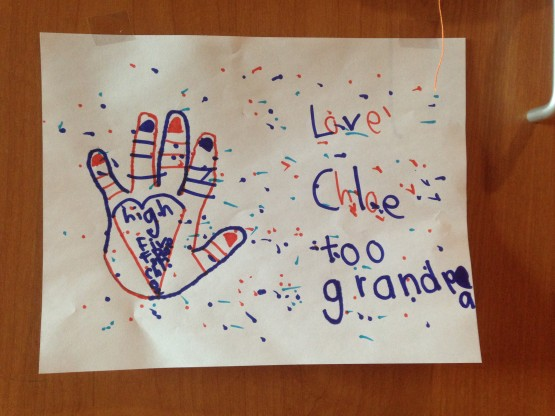 "We ""high five for Denver"" when they have a good play. Each of the girls traced their hands and we decorated Dad's hospital room with them."